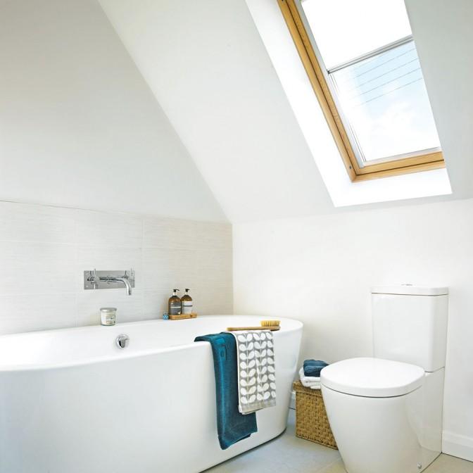 Modern white bathroom with dormer window