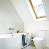 Modern white bathroom with dormer window