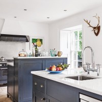 White farmhouse kitchen with off-black cabinetry