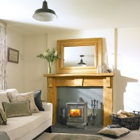 Cosy country living room with feature fireplace