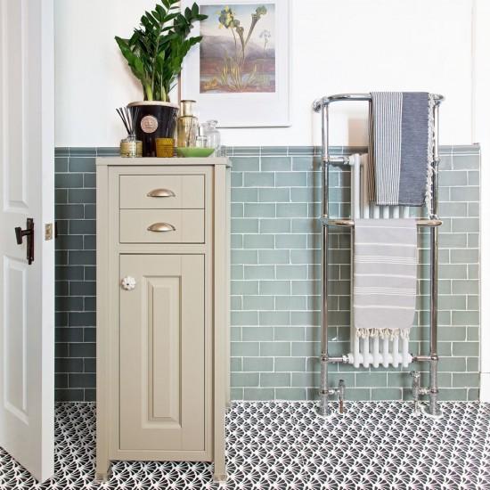 traditional bathroom with tallboy cabinet