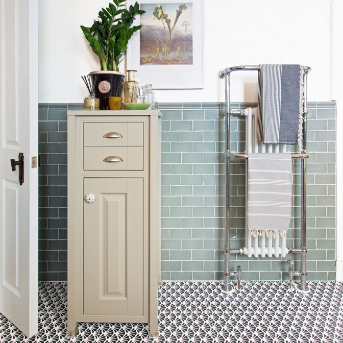 Traditional bathroom with tallboy cabinet