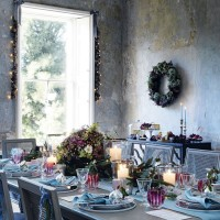 Traditional dining room with vintage table setting