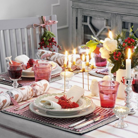 Nordic-style dining table dressed for Christmas