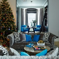 Glamorous living room with tactile velvets in grey and blue