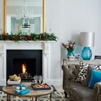 Festive living room with hits of aqua blue