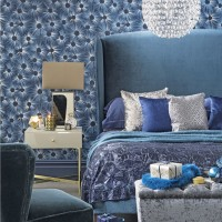 Glamorous shades-of-blue bedroom with floral wallpaper