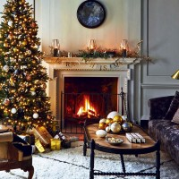Traditional living room with gold christmas decorations