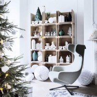 Modern white living room with cube bookcase