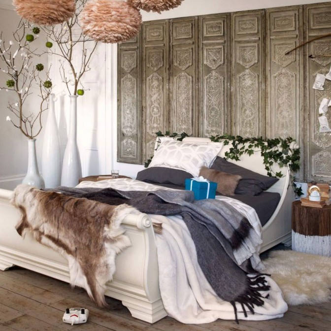 Festive bedroom with boutique ski lodge style