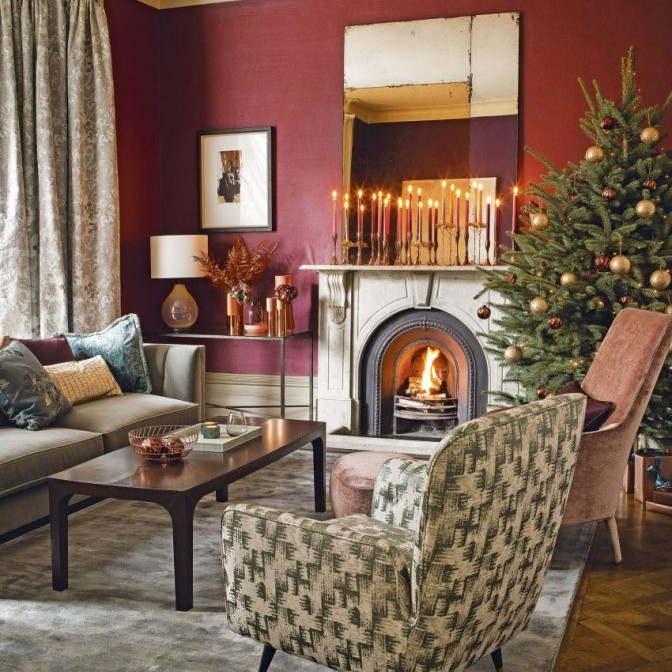 Modern green and red living room with Christmas candle display