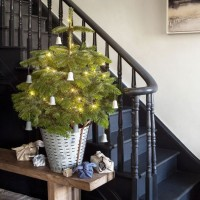 Contemporary rustic hallway Christmas tree