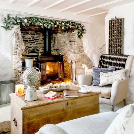 Christmas Cottage Living Room With Feature Fireplace