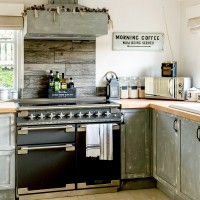 Rustic cottage kitchen with wood panelling