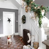 Traditional grey hallway with Christmas garland