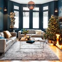 Contemporary blue Christmas living room