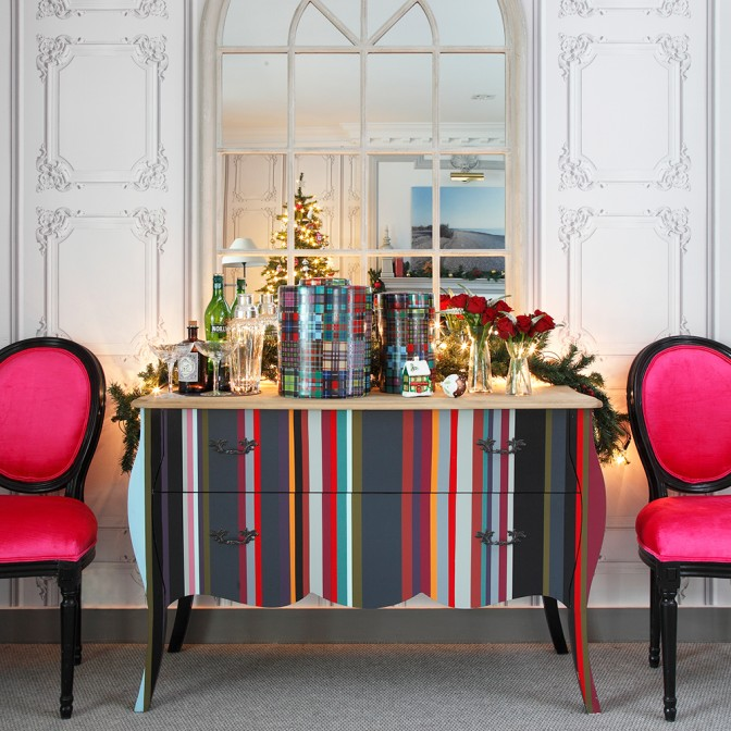 Christmas hallway with colourful chest of drawers