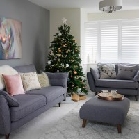 Pale grey living room with winter white textures