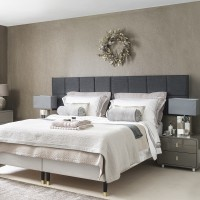Hotel-chic master bedroom with festive decor