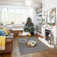 Festive living room with an eclectic style
