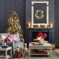Cosy Christmas living room with fireplace